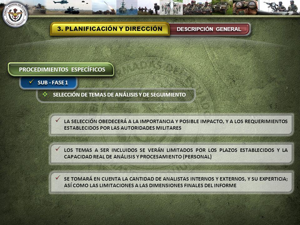 SELECCIÓN DE TEMAS DE ANÁLISIS Y DE SEGUIMIENTO 3. PLANIFICACIÓN Y DIRECCIÓN DESCRIPCIÓN GENERAL SUB - FASE 1 PROCEDIMIENTOS ESPECÍFICOS LA SELECCIÓN