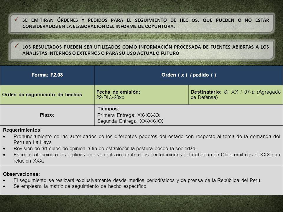 Forma: F2.03Orden ( x ) / pedido ( ) Orden de seguimiento de hechos Fecha de emisión: 22-DIC-20xx Destinatario: Sr XX / 07-a (Agregado de Defensa) Pla