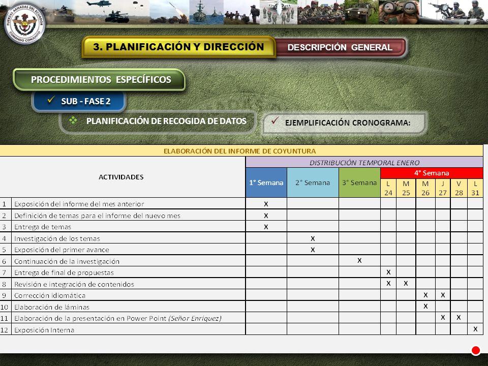 PLANIFICACIÓN DE RECOGIDA DE DATOS 3. PLANIFICACIÓN Y DIRECCIÓN DESCRIPCIÓN GENERAL SUB - FASE 2 PROCEDIMIENTOS ESPECÍFICOS EJEMPLIFICACIÓN CRONOGRAMA