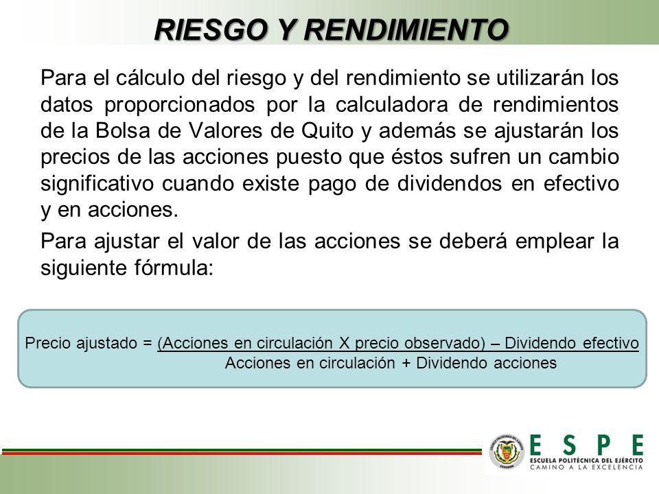 RIESGO Y RENDIMIENTO Para el cálculo del riesgo y del rendimiento se utilizarán los datos proporcionados por la calculadora de rendimientos de la Bols