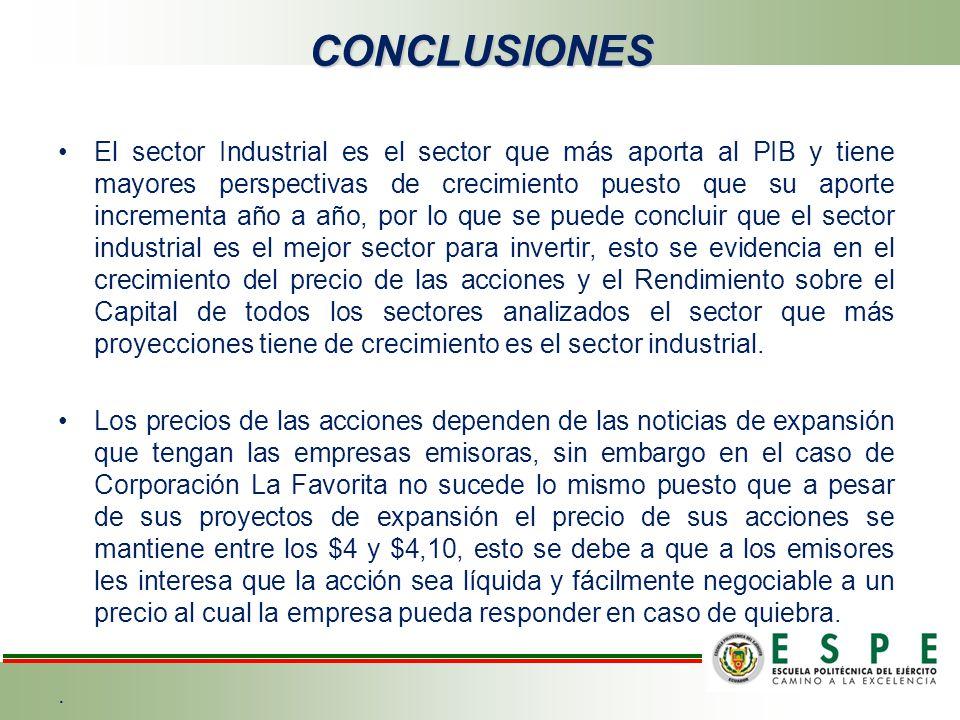 CONCLUSIONES El sector Industrial es el sector que más aporta al PIB y tiene mayores perspectivas de crecimiento puesto que su aporte incrementa año a