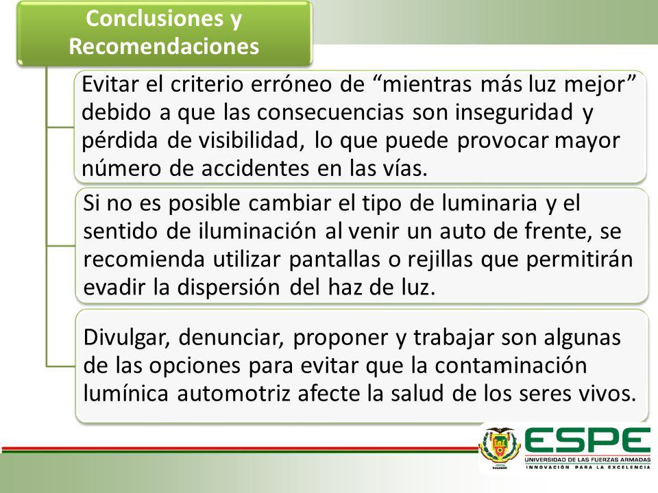 Conclusiones y Recomendaciones Evitar el criterio erróneo de mientras más luz mejor debido a que las consecuencias son inseguridad y pérdida de visibilidad, lo que puede provocar mayor número de accidentes en las vías.