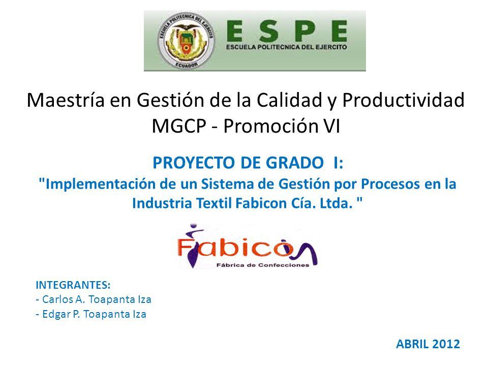 AGENDA Generalidades del Proyecto 1 Descripción de Fabicon Cía.