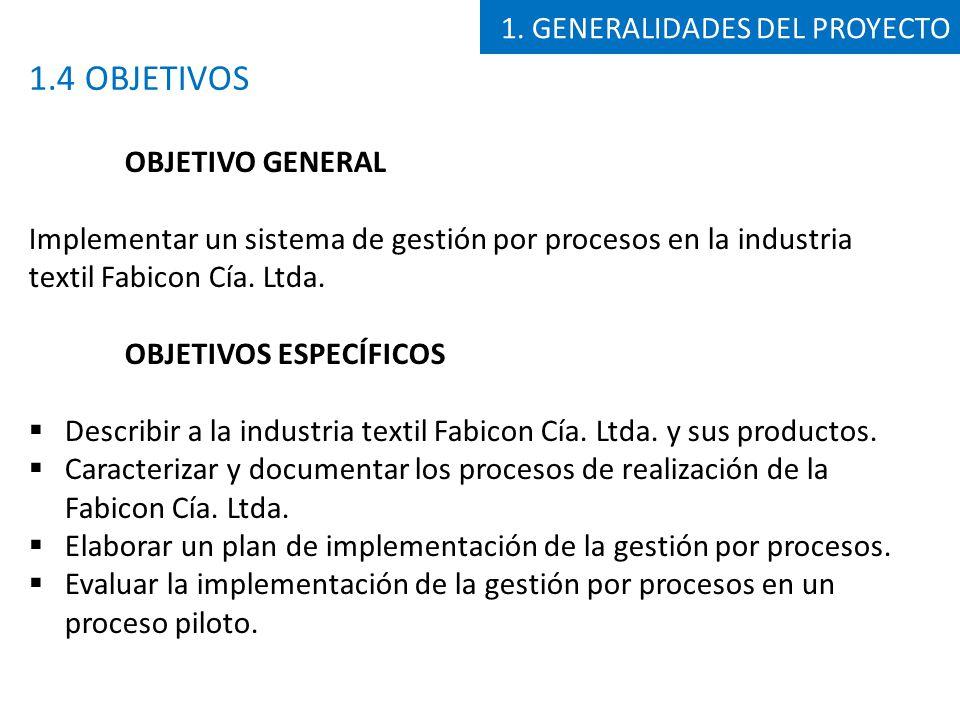 ALCANCE El presente proyecto tiene como alcance la revisión y caracterización de los procesos de realización o producción de la industria textil Fabicon Cía.