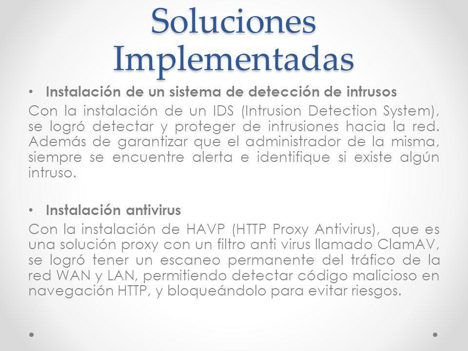 Soluciones Implementadas Instalación de un sistema de detección de intrusos Con la instalación de un IDS (Intrusion Detection System), se logró detect