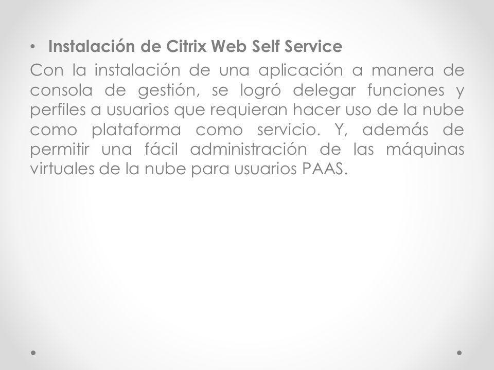Instalación de Citrix Web Self Service Con la instalación de una aplicación a manera de consola de gestión, se logró delegar funciones y perfiles a us