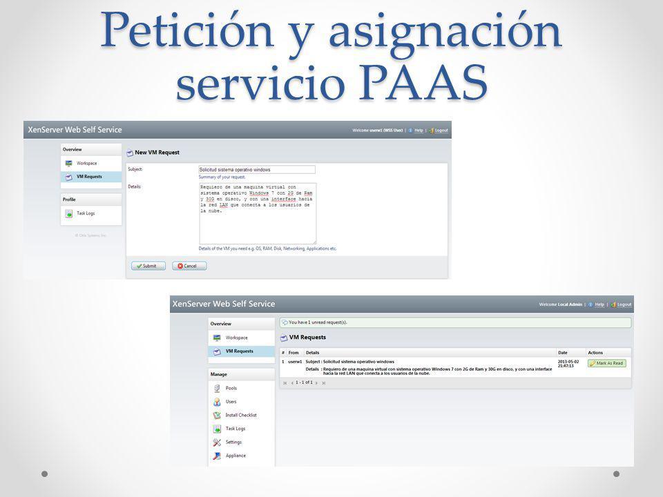 Petición y asignación servicio PAAS