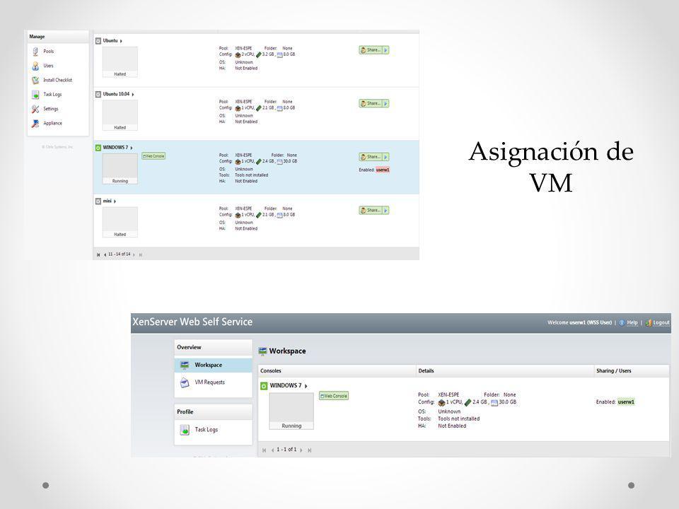 Asignación de VM