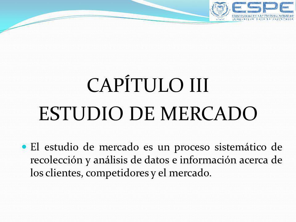 CAPÍTULO III ESTUDIO DE MERCADO El estudio de mercado es un proceso sistemático de recolección y análisis de datos e información acerca de los cliente