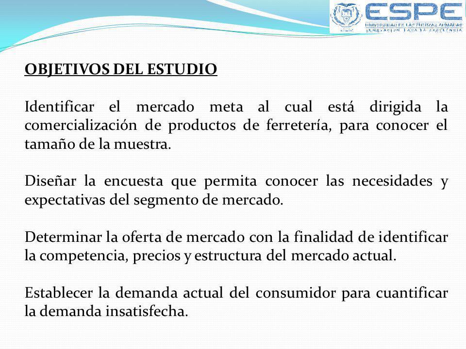 OBJETIVOS DEL ESTUDIO Identificar el mercado meta al cual está dirigida la comercialización de productos de ferretería, para conocer el tamaño de la m
