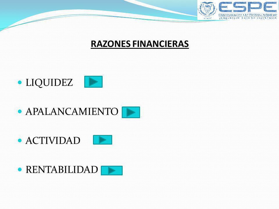 RAZONES FINANCIERAS LIQUIDEZ APALANCAMIENTO ACTIVIDAD RENTABILIDAD