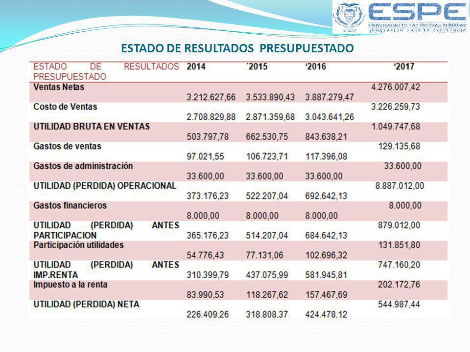 ESTADO DE RESULTADOS PRESUPUESTADO