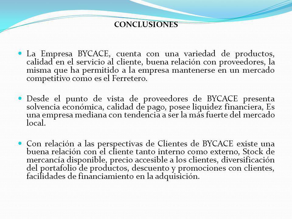 CONCLUSIONES La Empresa BYCACE, cuenta con una variedad de productos, calidad en el servicio al cliente, buena relación con proveedores, la misma que