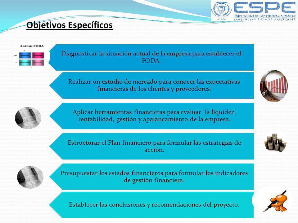 Objetivos Específicos Diagnosticar la situación actual de la empresa para establecer el FODA. Realizar un estudio de mercado para conocer las expectat