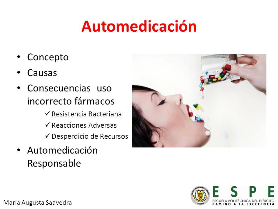 Automedicación Concepto Causas Consecuencias uso incorrecto fármacos Resistencia Bacteriana Reacciones Adversas Desperdicio de Recursos Automedicación Responsable María Augusta Saavedra