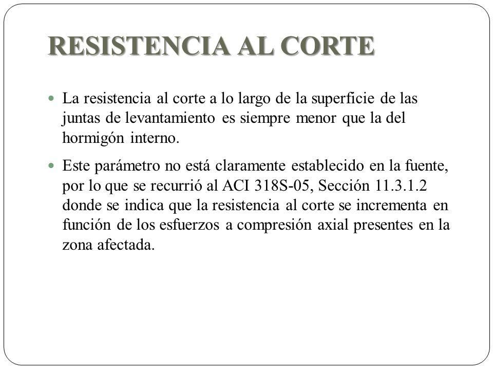 RESISTENCIA AL CORTE La resistencia al corte a lo largo de la superficie de las juntas de levantamiento es siempre menor que la del hormigón interno.