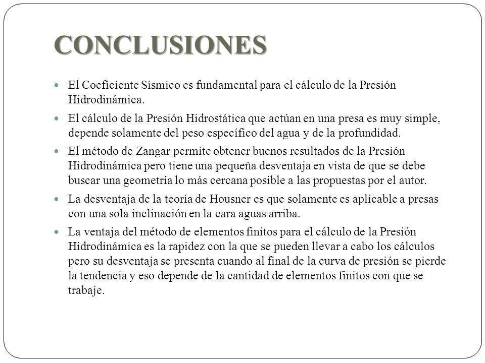 CONCLUSIONES El Coeficiente Sísmico es fundamental para el cálculo de la Presión Hidrodinámica. El cálculo de la Presión Hidrostática que actúan en un