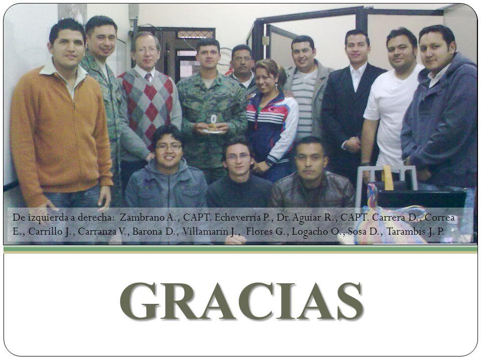 GRACIAS De izquierda a derecha: Zambrano A., CAPT. Echeverría P., Dr. Aguiar R., CAPT. Carrera D., Correa E., Carrillo J., Carranza V., Barona D., Vil