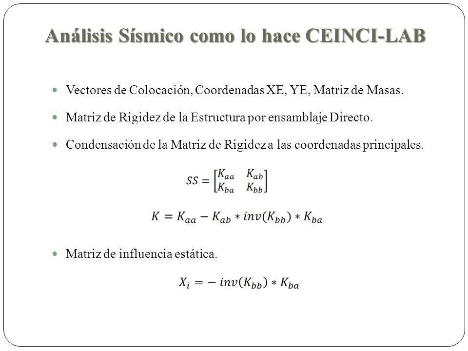 Análisis Sísmico como lo hace CEINCI-LAB Vectores de Colocación, Coordenadas XE, YE, Matriz de Masas.