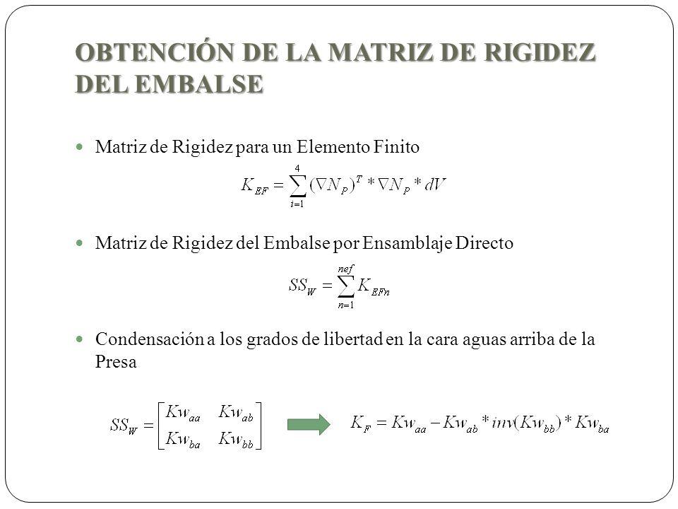 OBTENCIÓN DE LA MATRIZ DE RIGIDEZ DEL EMBALSE Matriz de Rigidez para un Elemento Finito Matriz de Rigidez del Embalse por Ensamblaje Directo Condensac