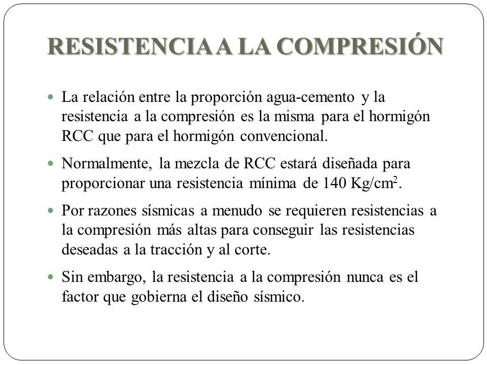 RESISTENCIA A LA COMPRESIÓN La relación entre la proporción agua-cemento y la resistencia a la compresión es la misma para el hormigón RCC que para el hormigón convencional.