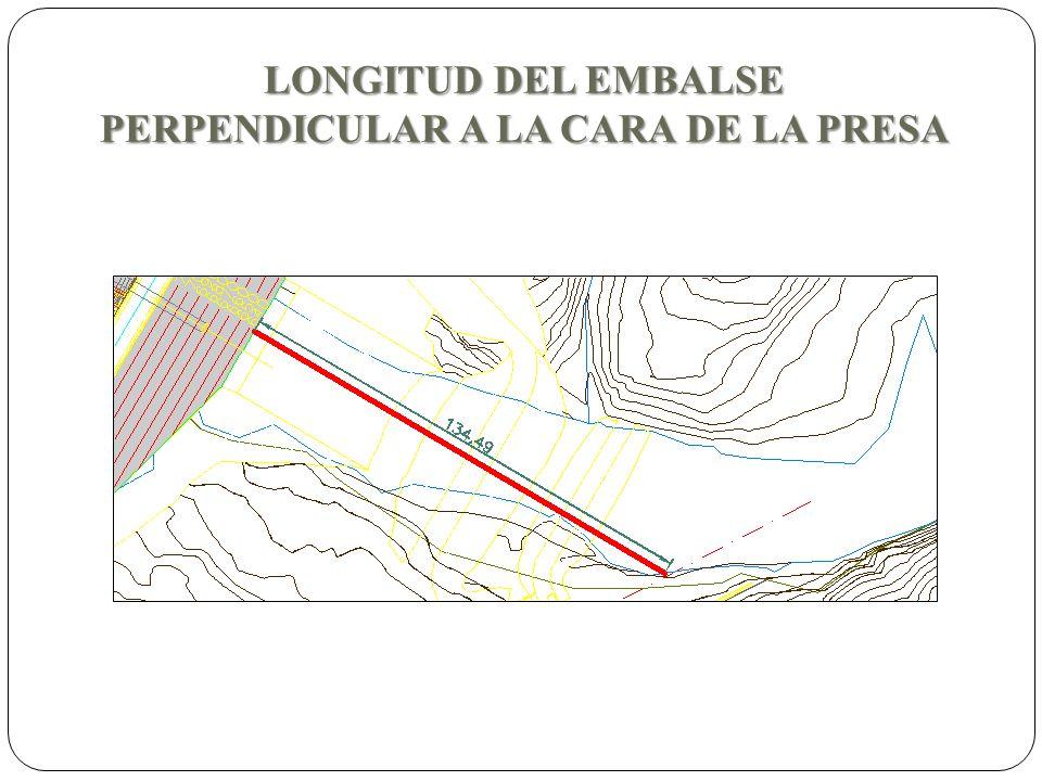 LONGITUD DEL EMBALSE PERPENDICULAR A LA CARA DE LA PRESA