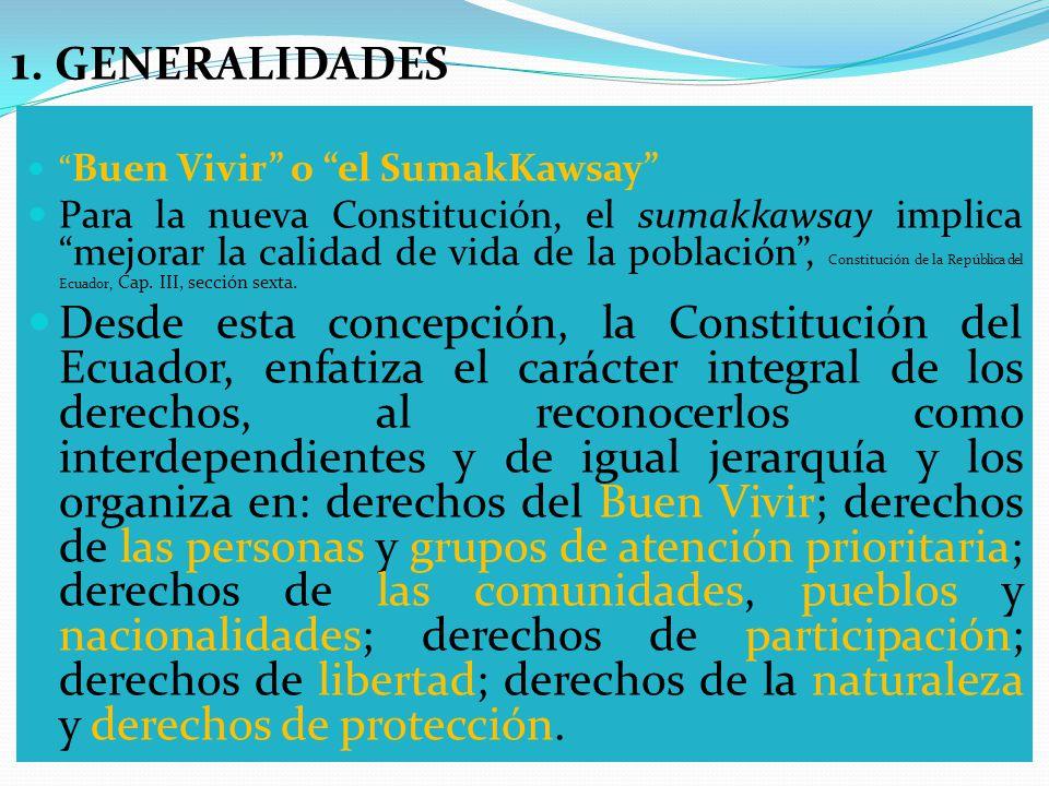 Buen Vivir o el SumakKawsay Para la nueva Constitución, el sumakkawsay implica mejorar la calidad de vida de la población, Constitución de la República del Ecuador, Cap.