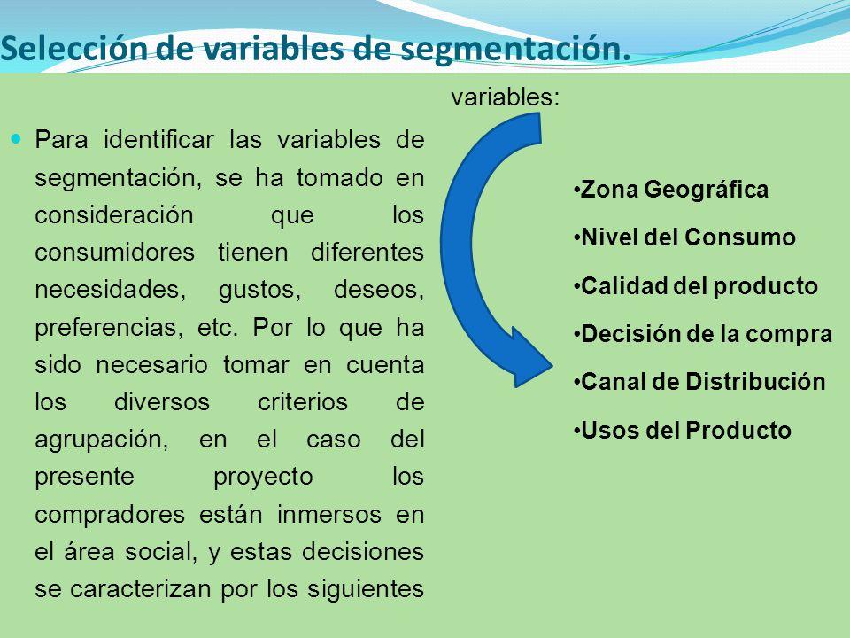 Selección de variables de segmentación.