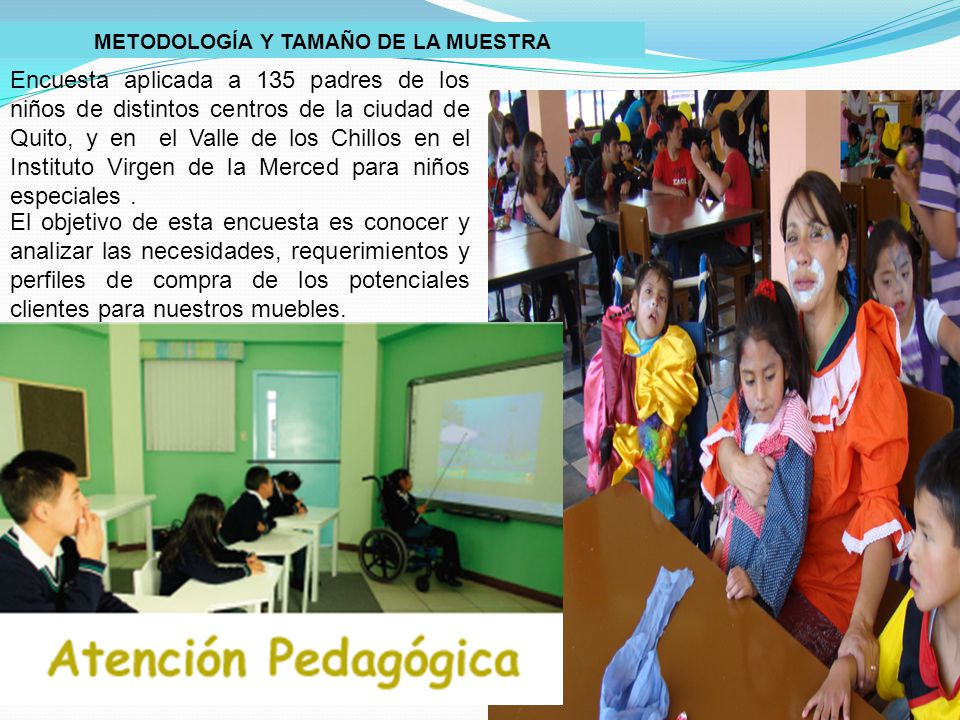 METODOLOGÍA Y TAMAÑO DE LA MUESTRA Encuesta aplicada a 135 padres de los niños de distintos centros de la ciudad de Quito, y en el Valle de los Chillos en el Instituto Virgen de la Merced para niños especiales.