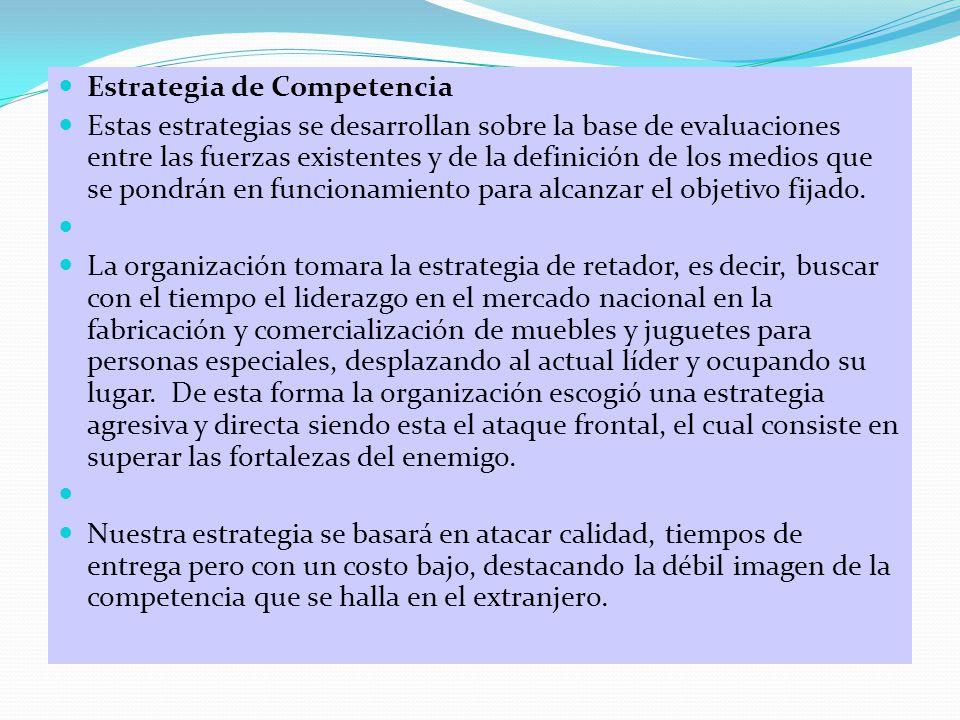Estrategia de Competencia Estas estrategias se desarrollan sobre la base de evaluaciones entre las fuerzas existentes y de la definición de los medios que se pondrán en funcionamiento para alcanzar el objetivo fijado.