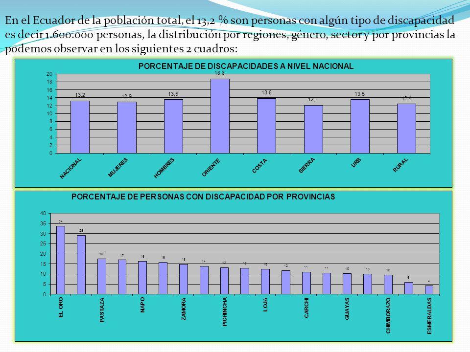 En el Ecuador de la población total, el 13,2 % son personas con algún tipo de discapacidad es decir 1.600.000 personas, la distribución por regiones, género, sector y por provincias la podemos observar en los siguientes 2 cuadros: