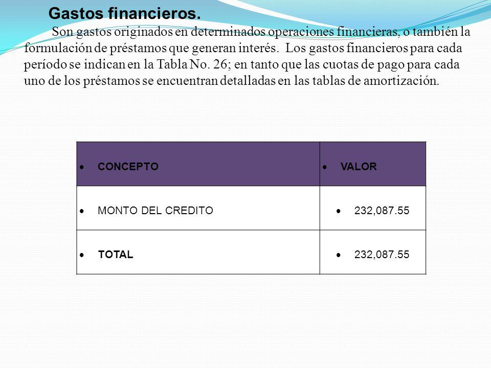CONCEPTO VALOR MONTO DEL CREDITO 232,087.55 TOTAL 232,087.55 Gastos financieros.