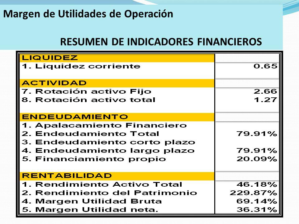 Margen de Utilidades de Operación RESUMEN DE INDICADORES FINANCIEROS