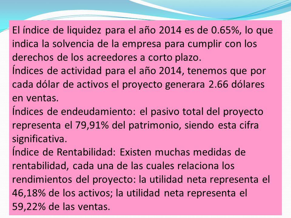 El índice de liquidez para el año 2014 es de 0.65%, lo que indica la solvencia de la empresa para cumplir con los derechos de los acreedores a corto plazo.