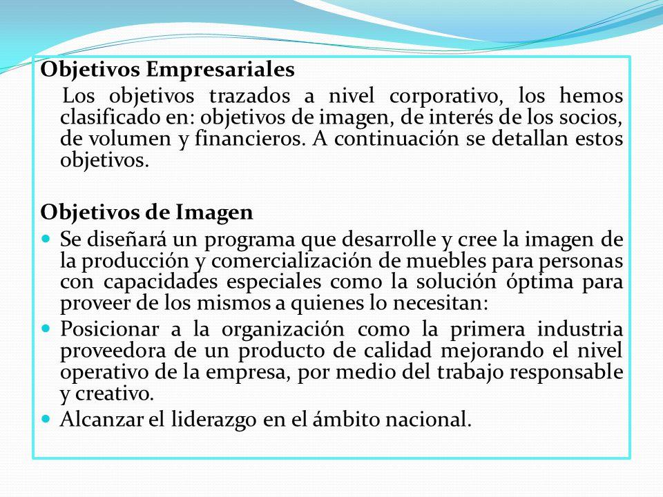 Objetivos Empresariales Los objetivos trazados a nivel corporativo, los hemos clasificado en: objetivos de imagen, de interés de los socios, de volumen y financieros.