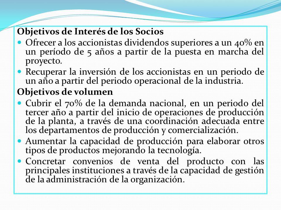 Objetivos de Interés de los Socios Ofrecer a los accionistas dividendos superiores a un 40% en un período de 5 años a partir de la puesta en marcha del proyecto.