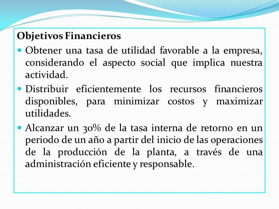 Objetivos Financieros Obtener una tasa de utilidad favorable a la empresa, considerando el aspecto social que implica nuestra actividad.