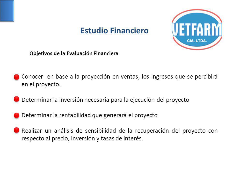 Estudio Financiero Conocer en base a la proyección en ventas, los ingresos que se percibirá en el proyecto. Determinar la inversión necesaria para la