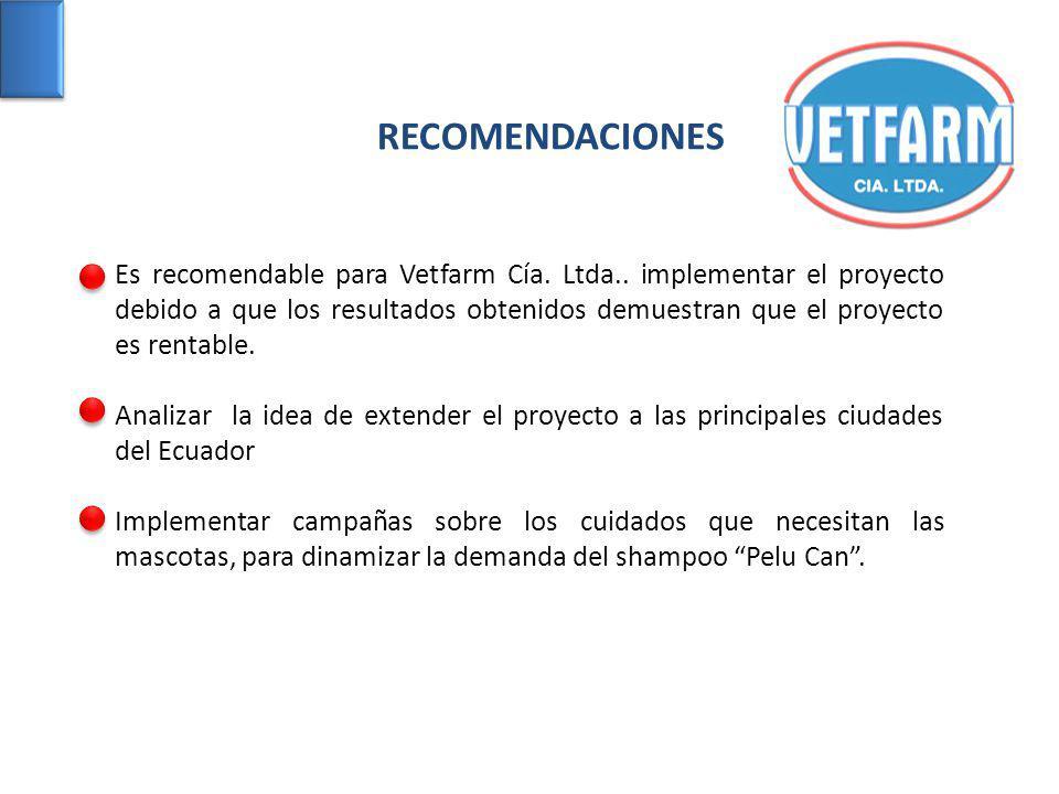 Es recomendable para Vetfarm Cía. Ltda.. implementar el proyecto debido a que los resultados obtenidos demuestran que el proyecto es rentable. Analiza