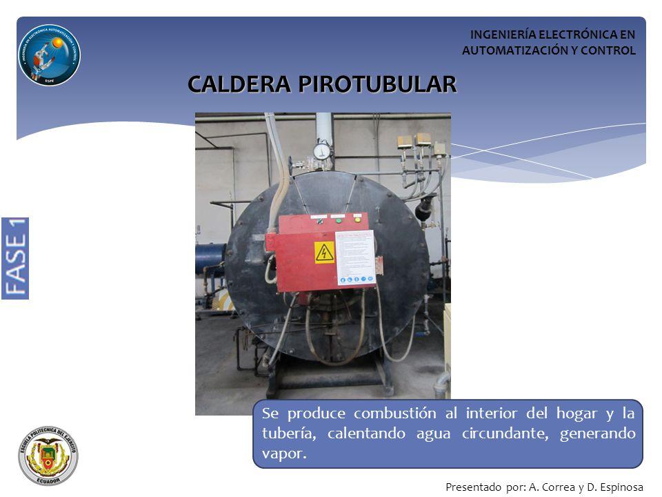 INGENIERÍA ELECTRÓNICA EN AUTOMATIZACIÓN Y CONTROL CALDERA PIROTUBULAR Se produce combustión al interior del hogar y la tubería, calentando agua circundante, generando vapor.