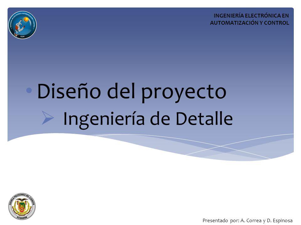 Diseño del proyecto Ingeniería de Detalle INGENIERÍA ELECTRÓNICA EN AUTOMATIZACIÓN Y CONTROL Presentado por: A.