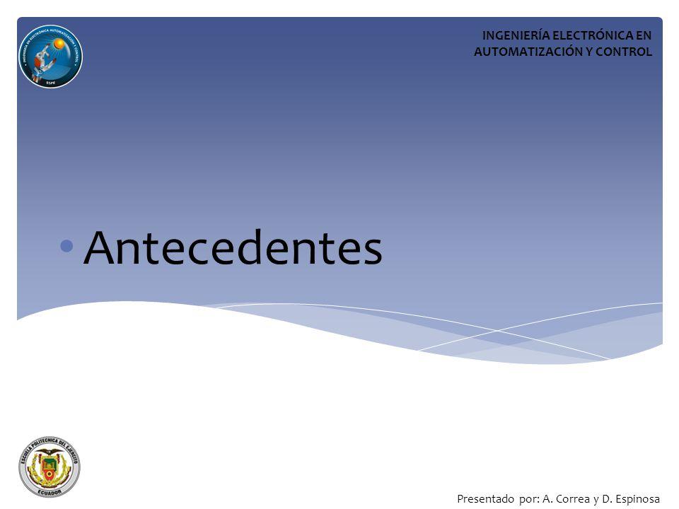 Antecedentes INGENIERÍA ELECTRÓNICA EN AUTOMATIZACIÓN Y CONTROL Presentado por: A.