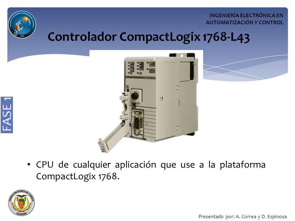 INGENIERÍA ELECTRÓNICA EN AUTOMATIZACIÓN Y CONTROL Controlador CompactLogix 1768-L43 CPU de cualquier aplicación que use a la plataforma CompactLogix 1768.