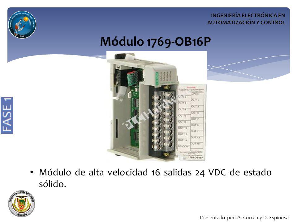 INGENIERÍA ELECTRÓNICA EN AUTOMATIZACIÓN Y CONTROL Módulo 1769-OB16P Módulo de alta velocidad 16 salidas 24 VDC de estado sólido.
