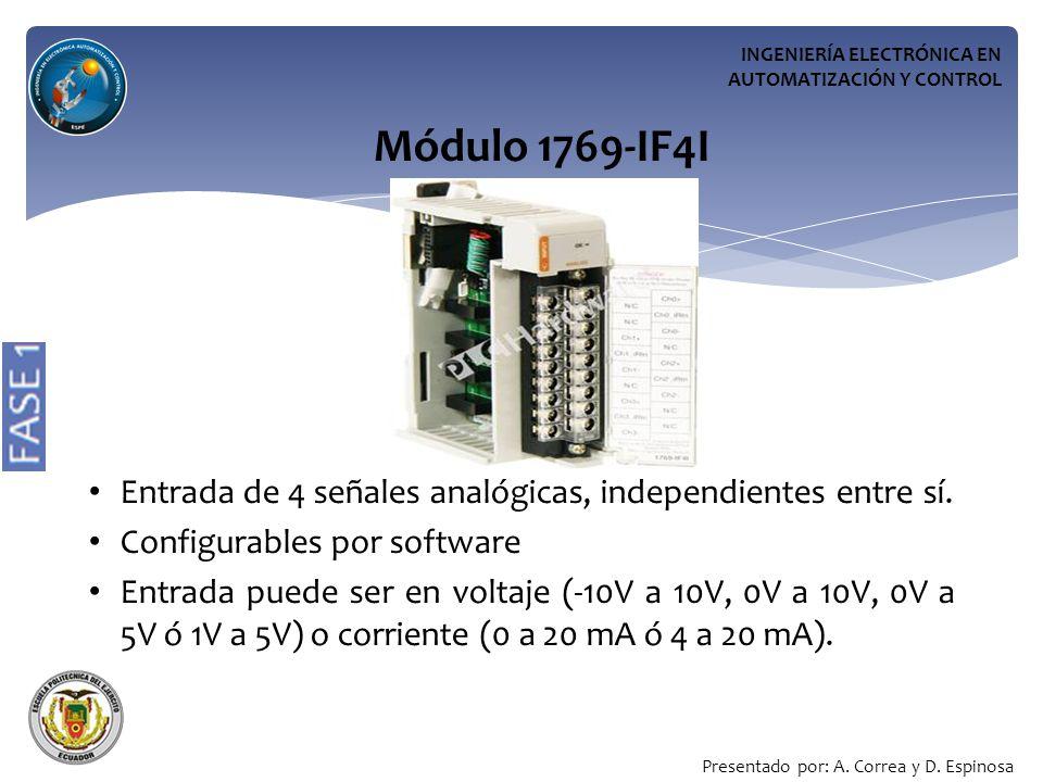 INGENIERÍA ELECTRÓNICA EN AUTOMATIZACIÓN Y CONTROL Módulo 1769-IF4I Entrada de 4 señales analógicas, independientes entre sí.