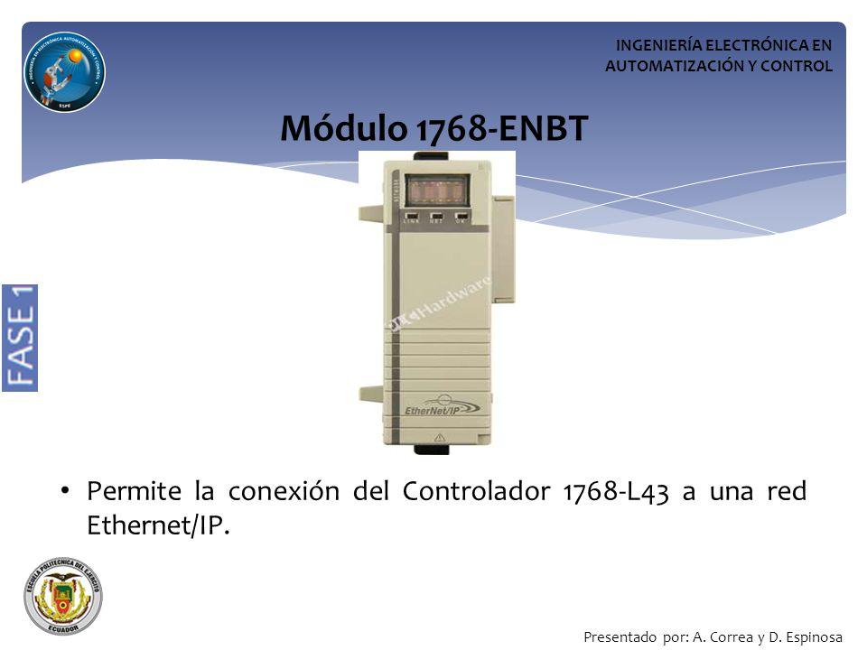 INGENIERÍA ELECTRÓNICA EN AUTOMATIZACIÓN Y CONTROL Módulo 1768-ENBT Permite la conexión del Controlador 1768-L43 a una red Ethernet/IP.