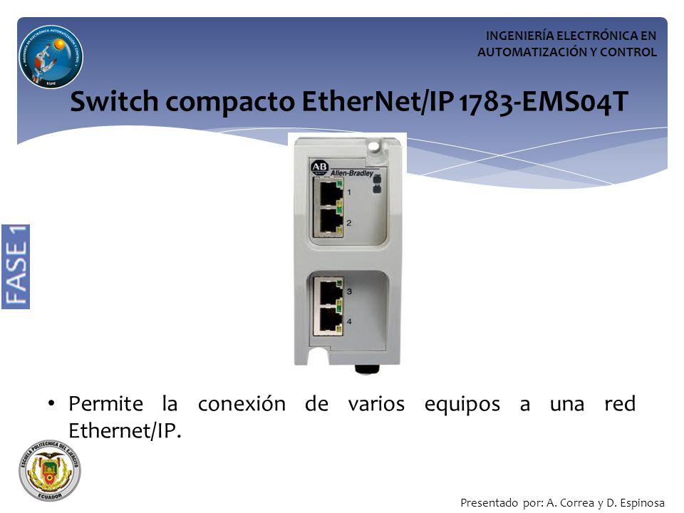 INGENIERÍA ELECTRÓNICA EN AUTOMATIZACIÓN Y CONTROL Switch compacto EtherNet/IP 1783-EMS04T Permite la conexión de varios equipos a una red Ethernet/IP.