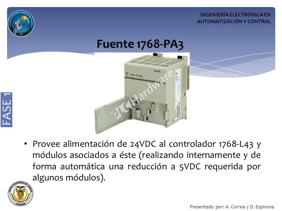 INGENIERÍA ELECTRÓNICA EN AUTOMATIZACIÓN Y CONTROL Fuente 1768-PA3 Provee alimentación de 24VDC al controlador 1768-L43 y módulos asociados a éste (realizando internamente y de forma automática una reducción a 5VDC requerida por algunos módulos).