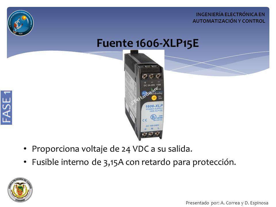 INGENIERÍA ELECTRÓNICA EN AUTOMATIZACIÓN Y CONTROL Fuente 1606-XLP15E Proporciona voltaje de 24 VDC a su salida.