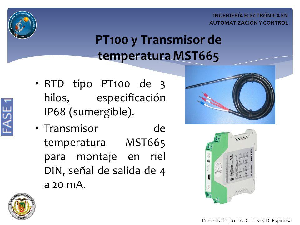 INGENIERÍA ELECTRÓNICA EN AUTOMATIZACIÓN Y CONTROL PT100 y Transmisor de temperatura MST665 RTD tipo PT100 de 3 hilos, especificación IP68 (sumergible).